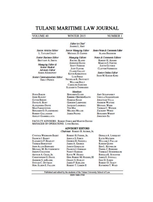 Tulane Maritime Law Journal - Masthead Volume 40 Issue 1